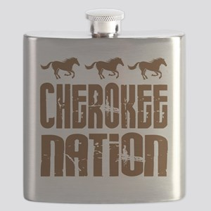 Cherokee Nation With Horses Flask