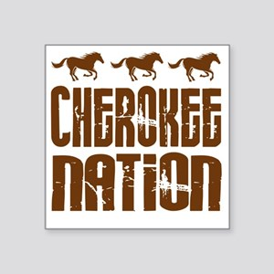 "Cherokee Nation With Horses Square Sticker 3"" x 3"""
