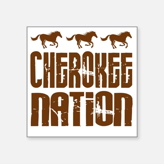 """Cherokee Nation With Horses Square Sticker 3"""" x 3"""""""