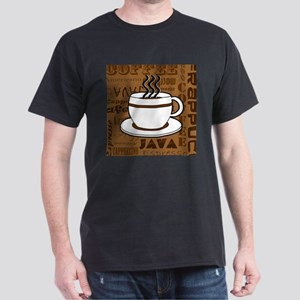 Coffee Words Jumble Print - Brown T-Shirt