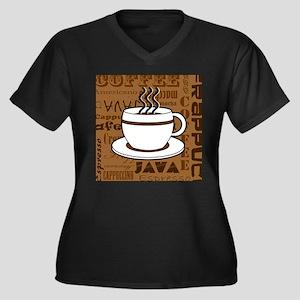 Coffee Words Jumble Print - Brown Plus Size T-Shir
