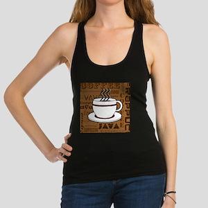 Coffee Words Jumble Print - Brown Racerback Tank T
