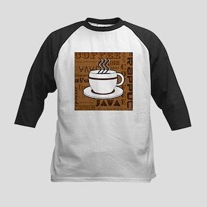Coffee Words Jumble Print - Brown Baseball Jersey