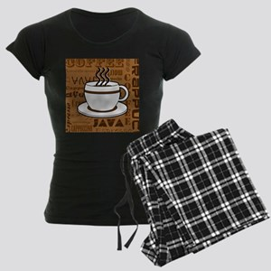 Coffee Words Jumble Print - Brown Pajamas