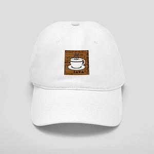 Coffee Words Jumble Print - Brown Baseball Cap