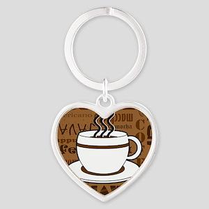 Coffee Words Jumble Print - Brown Keychains