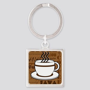 Coffee Words Jumble Print - Brown Keychains