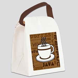 Coffee Words Jumble Print - Brown Canvas Lunch Bag