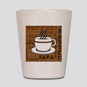 Coffee Words Jumble Print - Brown Shot Glass