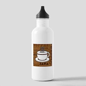 Coffee Words Jumble Print - Brown Water Bottle