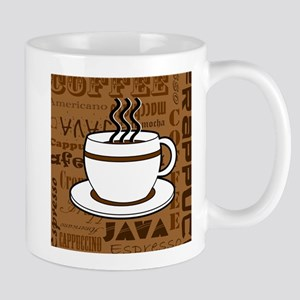 Coffee Words Jumble Print - Brown Mug