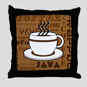 Coffee Words Jumble Print - Brown Throw Pillow