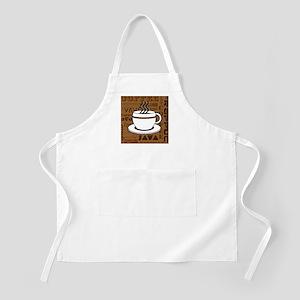 Coffee Words Jumble Print - Brown Apron