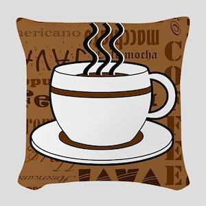 Coffee Words Jumble Print - Brown Woven Throw Pill