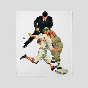 Vintage Sports Baseball Throw Blanket