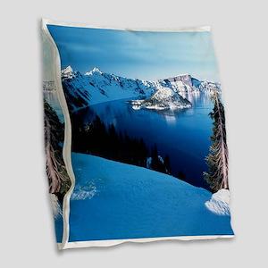 Crater Lake National Park Burlap Throw Pillow