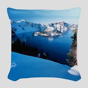 Crater Lake National Park Woven Throw Pillow