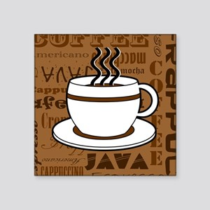 Coffee Words Jumble Print - Brown Sticker