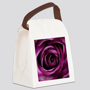 Purple Rose Canvas Lunch Bag