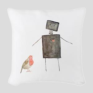Robot and Bird Woven Throw Pillow