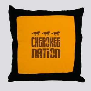 Cherokee Nation With Running Horses Throw Pillow