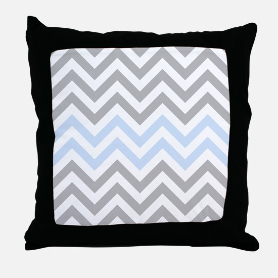 Grey and light Blue Chevrons Throw Pillow