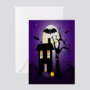 Halloween Pumpkin Haunted House Greeting Card