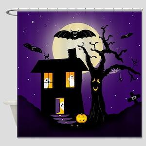 Halloween Pumpkin Haunted House Shower Curtain