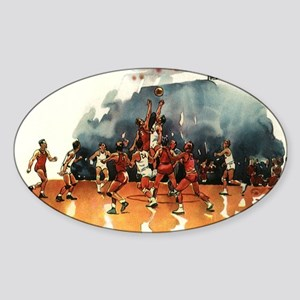 Vintage Sports Basketball Sticker (Oval)