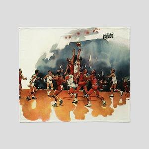 Vintage Sports Basketball Throw Blanket
