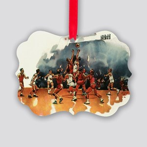 Vintage Sports Basketball Picture Ornament