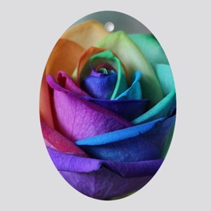 rainbow rose digital floral art Oval Ornament