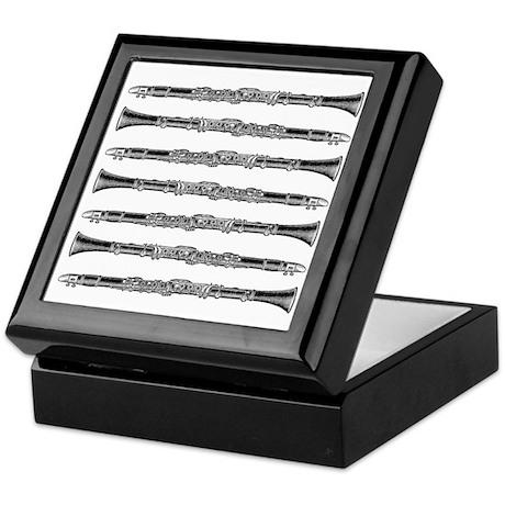 Clarinet Reed Storage Box, Woodcut Tile Top