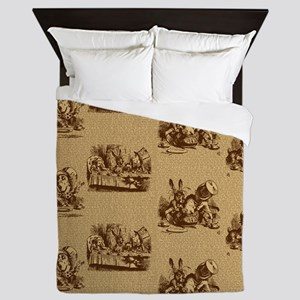 Alice Mad Hatter Text Toile Sepia Queen Duvet