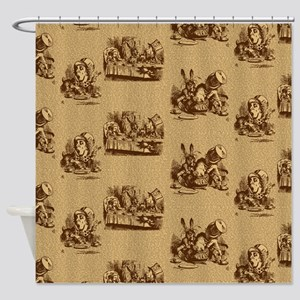 Alice Mad Hatter Text Toile Sepia Shower Curtain