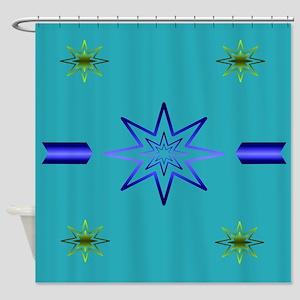 Awakening Star On Turquoise Shower Curtain