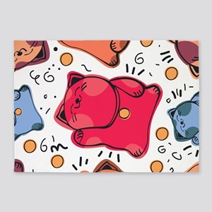 Japanese Fortune Cat 5'x7'Area Rug