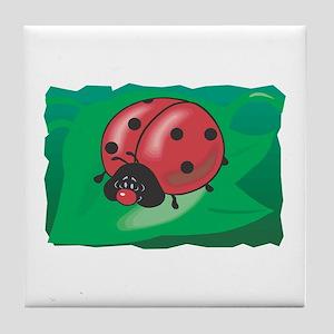Cute Sleepy Ladybug Tile Coaster