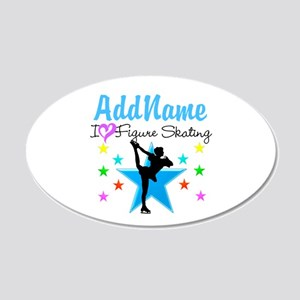 ICE SKATING STAR 20x12 Oval Wall Decal