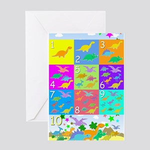 Learn Counting 1 to 10 Cute Dinosaurs Greeting Car