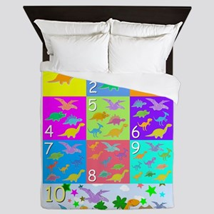 Learn Counting 1 to 10 Cute Dinosaurs Queen Duvet