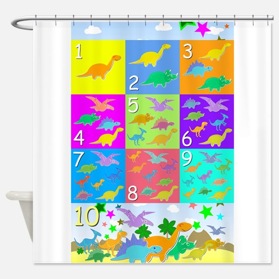 Learn Counting 1 to 10 Cute Dinosaurs Shower Curta