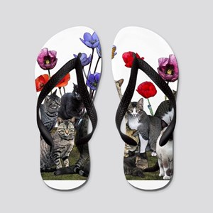 Cats and flowers Flip Flops