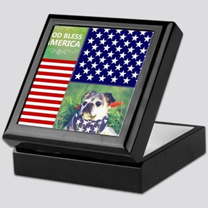 God Bless America cute dog Keepsake Box
