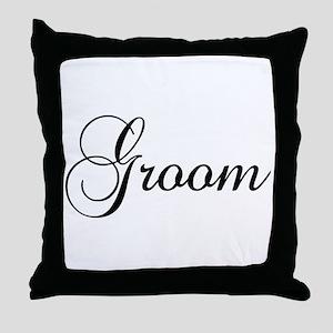 Groom Dark Throw Pillow