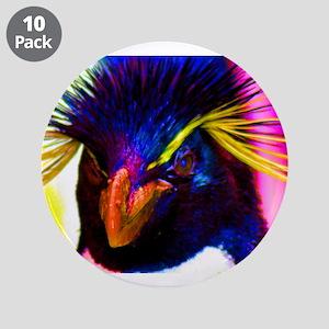 """Rainbow Rockhopper Penguin 3.5"""" Button (10 pack)"""