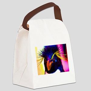 Rainbow Rockhopper Penguin Canvas Lunch Bag