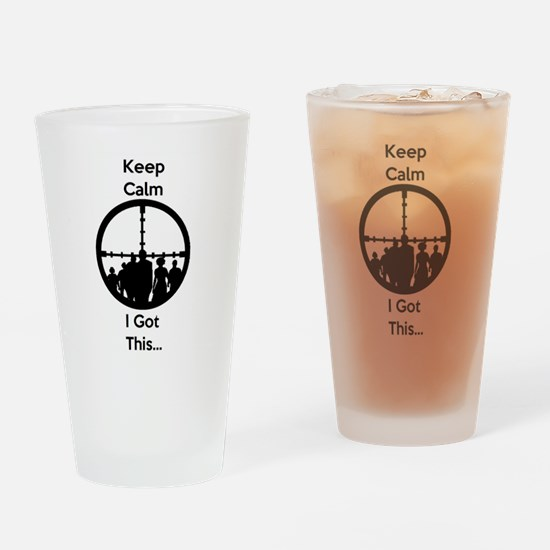 Zombie Keep Calm I Got This Drinking Glass