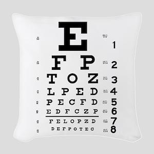 eyechart_full_page Woven Throw Pillow