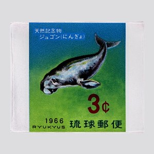 Vintage 1966 Ryukyu Dugong Postage Stamp Throw Bla